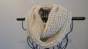 Hand knitted alpaca fibre infinity scarf $90 NZD