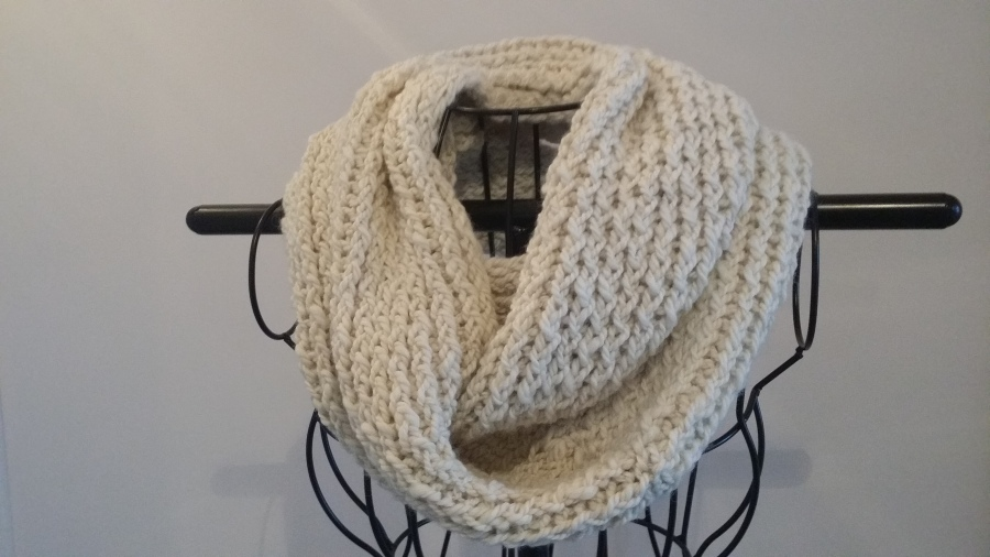 Hand knitted alpaca fibre infinity scarf $90 NZD
