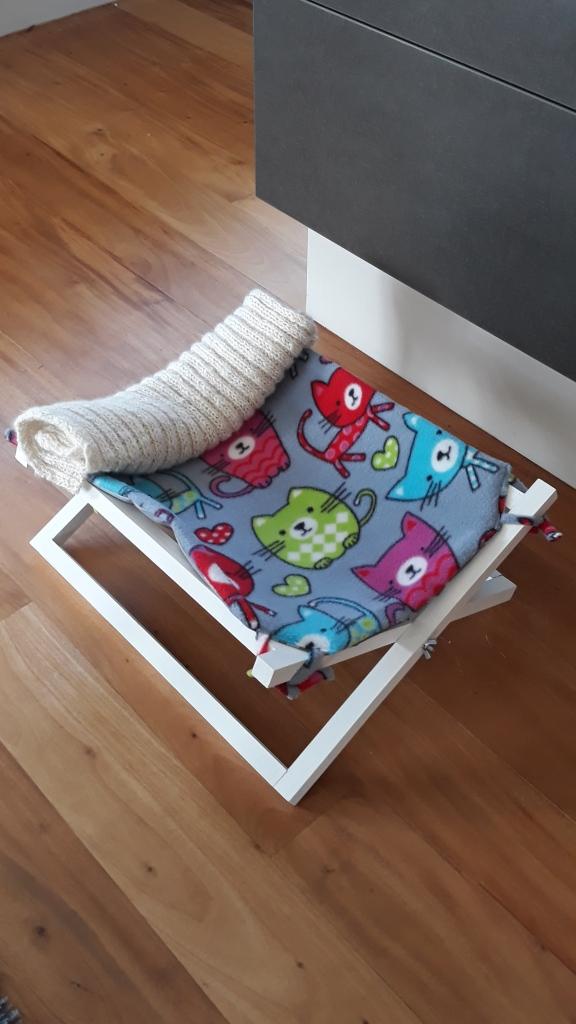 foldable cat hammock with alpaca blanket $65