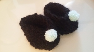 alpaca booties with aqua pompoms $15 NZD