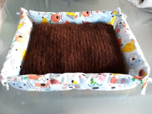 small dog bed with alpaca cushion 35x45cm $50.00 NZD