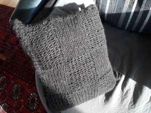black knitted alpaca cushion 35x30cm $50 NZD