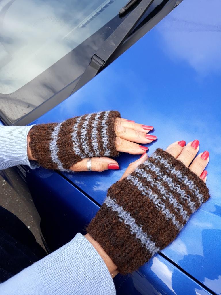 Alpaca handspun fingerless mittens $25NZD
