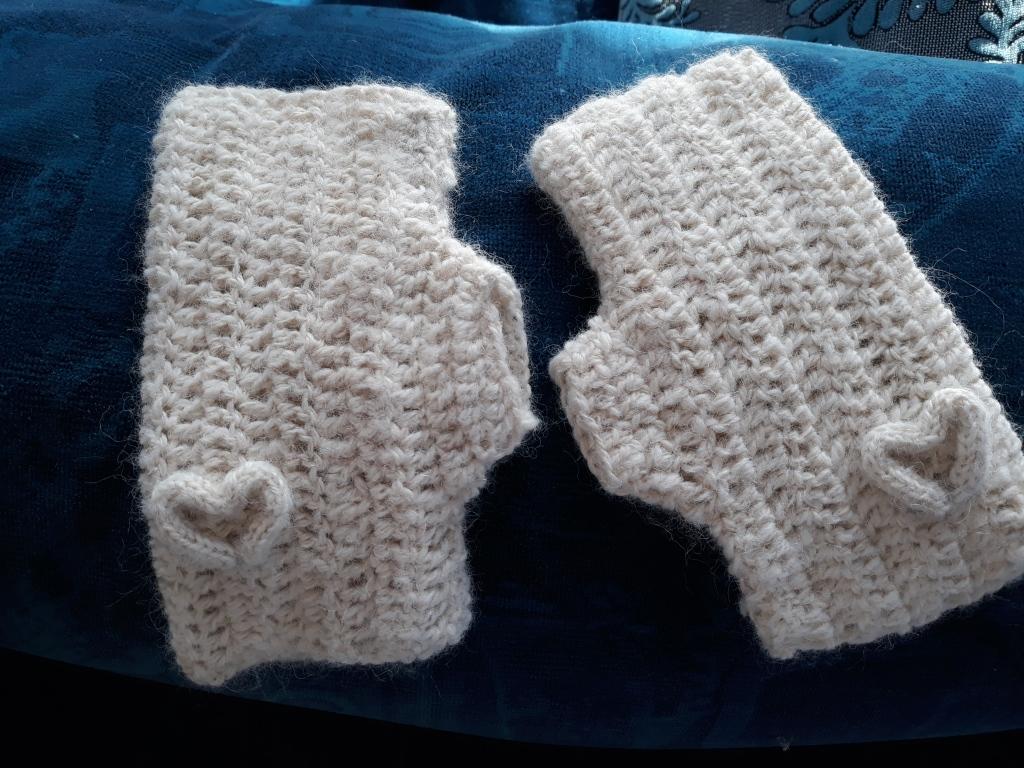 alpaca handspun fingerless-mittens $25 NZD